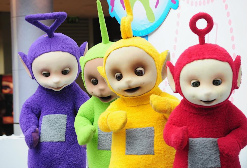 LONDON, ENGLAND - SEPTEMBER 10:  The Teletubbies, (L-R) Tinky Winky, Dipsy, Laa-Laa and Po attend photocall to promote new tour at Westfield on September 10, 2009 in London, England.  (Photo by Ian Gavan/Getty Images)
