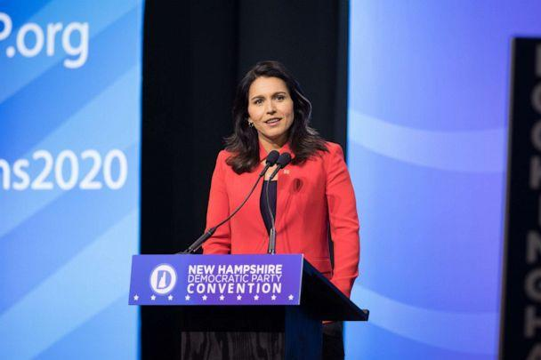PHOTO: Democratic presidential candidate Rep. Tulsi Gabbard (D-HI) speaks during the New Hampshire Democratic Party Convention at the SNHU Arena on September 7, 2019 in Manchester, New Hampshire. (Scott Eisen/Getty Images)