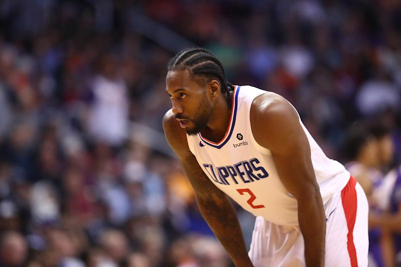 The NBA has fined the Los Angeles Clippers $50,000 over language used regarding Kawhi Leonard's health status. (Mark J. Rebilas/USA Today Sports)