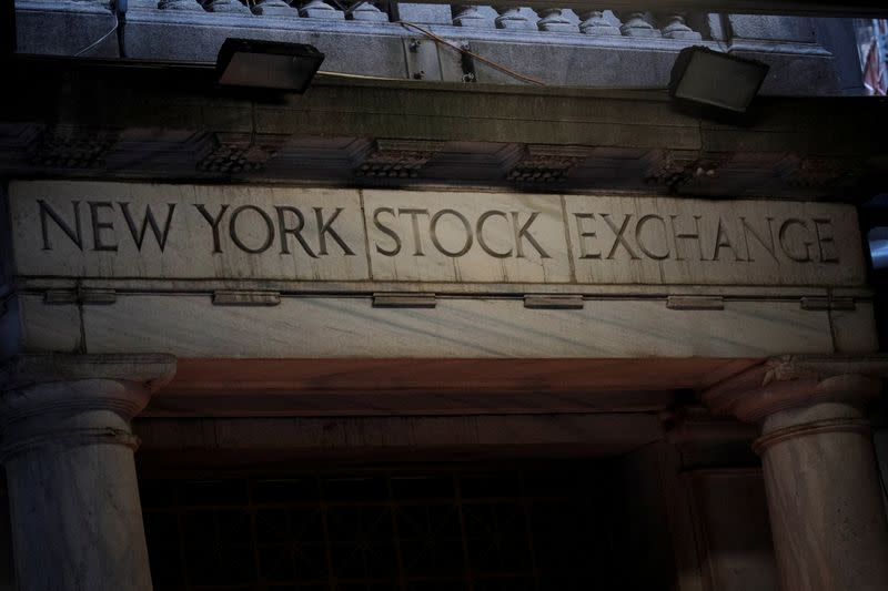 The Wall St. entrance to the NYSE is seen in the financial district in New York