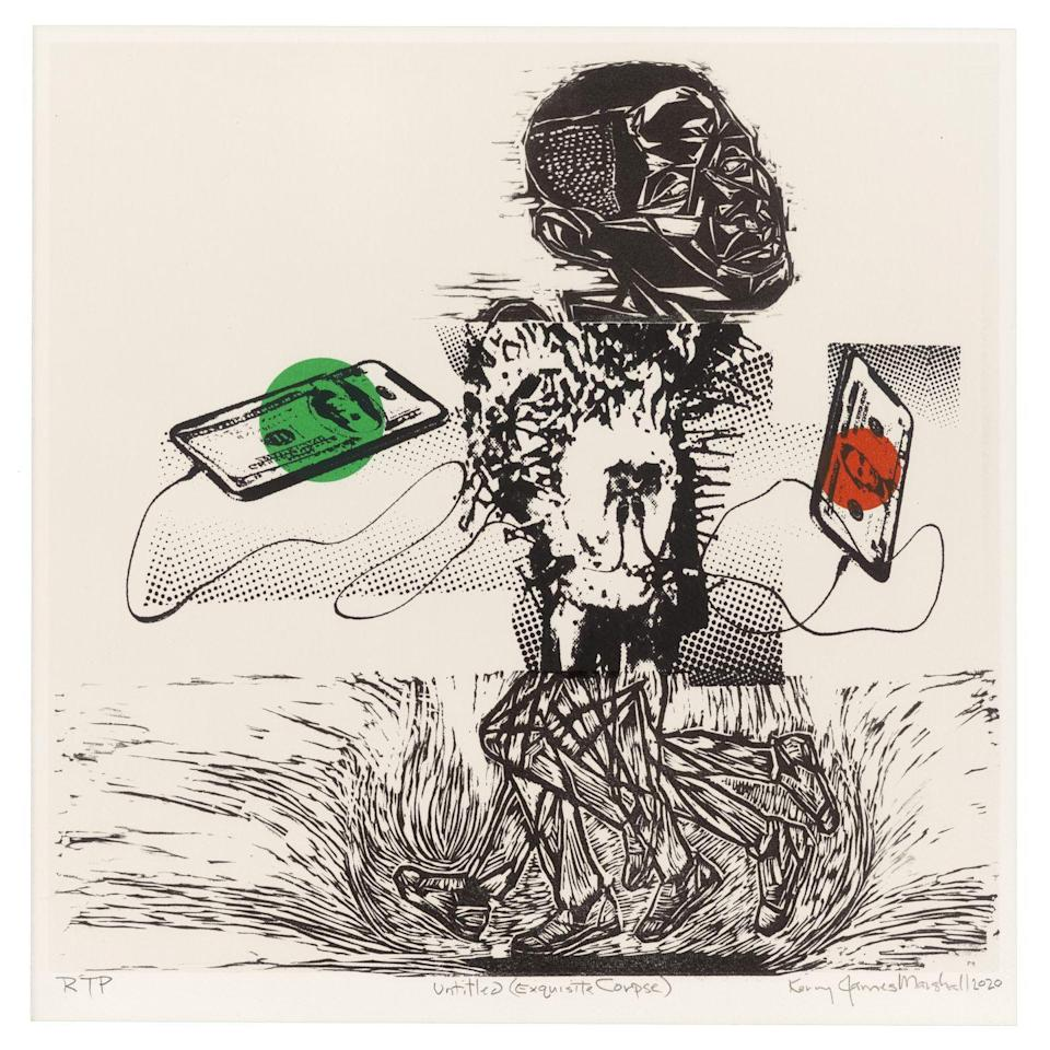 <p>Marshall used three different printing techniques—screen print, linocut and woodcut—for this work. </p>