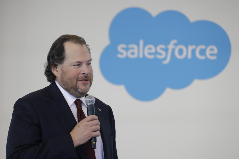 """FILE - In this May 16, 2019, file photo, Salesforce chairman Marc Benioff speaks during a news conference, in Indianapolis. In a forthcoming book, """"Trailblazer,"""" due out Oct. 15, Benioff calls on activist CEOs to lead a revolution that puts the welfare of people and the planet ahead of profits. (AP Photo/Darron Cummings, File)"""