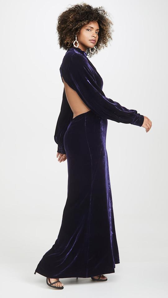 """<p>We love the exposed back on this pretty <a href=""""https://www.popsugar.com/buy/Fame-Partners-Elizabeth-Dress-491887?p_name=Fame%20and%20Partners%20The%20Elizabeth%20Dress&retailer=shopbop.com&pid=491887&price=379&evar1=fab%3Aus&evar9=45709742&evar98=https%3A%2F%2Fwww.popsugar.com%2Fphoto-gallery%2F45709742%2Fimage%2F46632620%2FFame-Partners-Elizabeth-Dress&list1=shopping%2Cdresses%2Cwinter%2Cwinter%20fashion%2Cwedding%20guest%20dresses&prop13=api&pdata=1"""" rel=""""nofollow"""" data-shoppable-link=""""1"""" target=""""_blank"""" class=""""ga-track"""" data-ga-category=""""Related"""" data-ga-label=""""https://www.shopbop.com/elizabeth-dress-fame-partners/vp/v=1/1515621944.htm?fm=search-viewall-shopbysize&amp;os=false"""" data-ga-action=""""In-Line Links"""">Fame and Partners The Elizabeth Dress</a> ($379).</p>"""