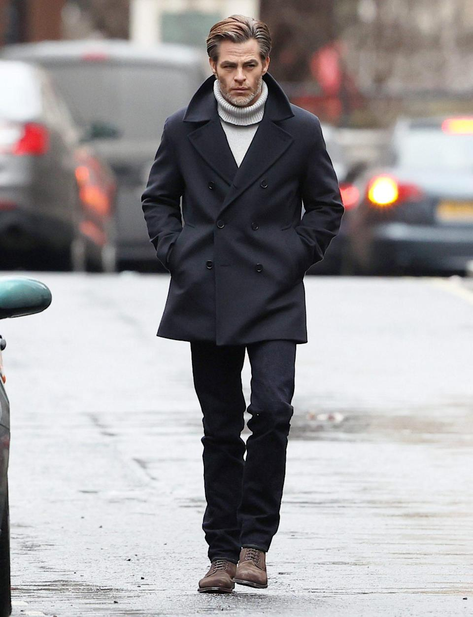 <p>Chris Pine films <em>All the Old Knives </em>in London on Monday, bundled up in a turtleneck sweater and peacoat. </p>