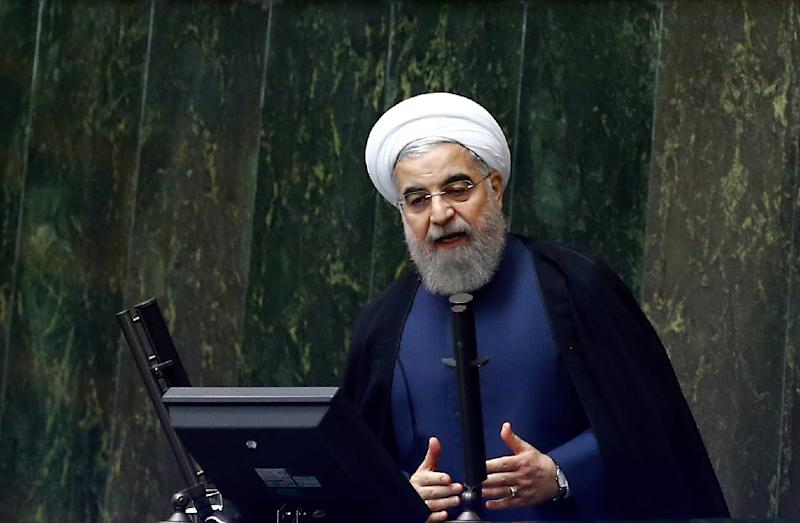 """Iranian President Hassan Rouhani, a moderate who has pushed for closer ties with the West, said the United States' standing in the world had been weakened due to its """"wrong policies"""""""