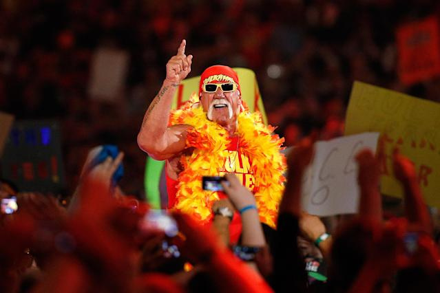 IMAGE DISTRIBUTED FOR WWE - Hulk Hogan is seen during Wrestlemania XXX at the Mercedes-Benz Super Dome in New Orleans on Sunday, April 6, 2014. (Jonathan Bachman/AP Images for WWE)