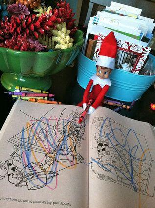 "<p>Elves have an artistic side and sometimes they need to let it out. For example, with your child's colouring book and crayons.</p> <p>Source: <a href=""http://4.bp.blogspot.com/-GS7nr76noD4/TuJGytw0jpI/AAAAAAAAMAQ/7Jb6NgNG6to/s640/IMG_2406.jpg"" target=""_blank"">Blogspot</a></p>"
