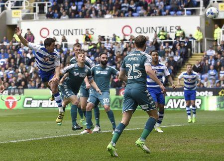 Britain Football Soccer - Reading v Wigan Athletic - Sky Bet Championship - The Madejski Stadium - 29/4/17 Reading's Yann Kermorgant scores their first goal Mandatory Credit: Action Images / Adam Holt Livepic