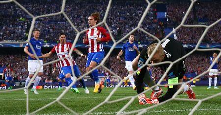 Atletico Madrid's Antoine Griezmann celebrates scoring their first goal