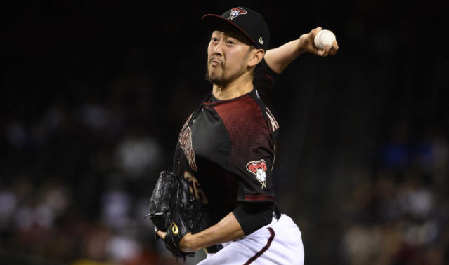 Yoshihisa Hirano is not a big name, but he could be a strong short-term option for the Blue Jays. (Jennifer Stewart/Getty Images)