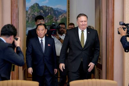 FILE PHOTO: U.S. Secretary of State Mike Pompeo and Kim Yong Chol, a North Korean senior ruling party official and former intelligence chief, return to discussions after a break at Park Hwa Guest House in Pyongyang, North Korea, July 7, 2018. Andrew Harnik/Pool via REUTERS/File Photo
