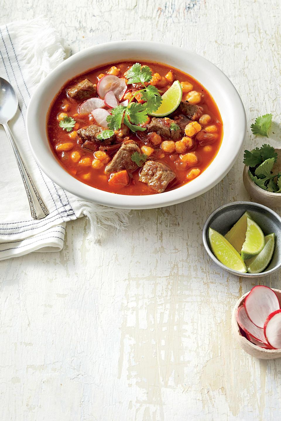 """<p><strong>Recipe: <a href=""""https://www.southernliving.com/syndication/mexican-stew"""" rel=""""nofollow noopener"""" target=""""_blank"""" data-ylk=""""slk:Mexican Stew"""" class=""""link rapid-noclick-resp"""">Mexican Stew</a></strong></p> <p>Classic posole, a delicious slow-simmered Mexican pork stew often reserved for special occasions, is typically a time-consuming labor of love. But this one gives you all the comfort and flavor of the old-world version made in your slow cooker.</p>"""