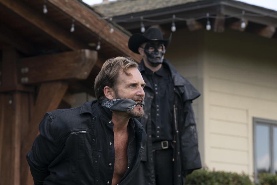 (from left) Dylan Tucker (Josh Lucas) and a Purger in The Forever Purge, directed by Everardo Valerio Gout.