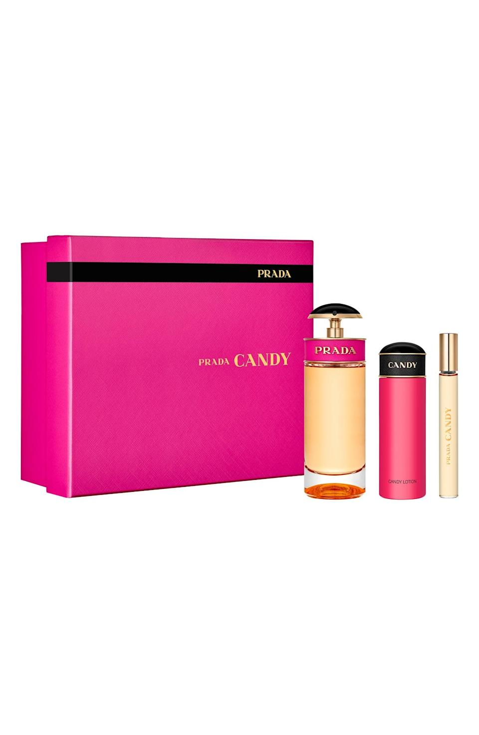 <p>Give the gift of scent with the <span>Prada Candy Eau de Parfum Set</span> ($130). The pretty gift set is one they'll love to display.</p>