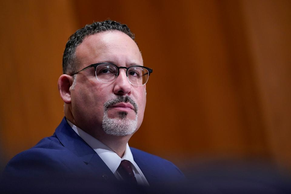 Education Secretary nominee Miguel Cardona testifies before the Senate Health, Education, Labor and Pensions committee during his confirmation hearing on Capitol Hill in Washington, DC. U.S., February 3, 2021. Susan Walsh/Pool via REUTERS