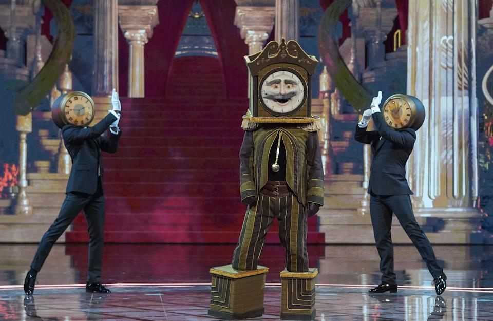 Hoddle performing in character as Grandfather Clock (Photo: ITV)