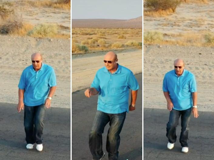 three images of dr. phil, wearing a bright blue polo, jeans, and sunglasses, dancing on an empty highway with dirt in the background