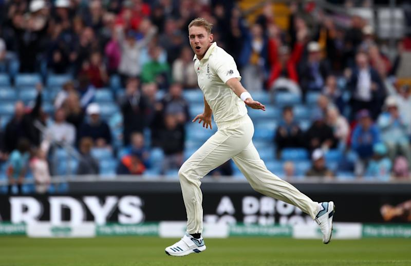 England's Stuart Broad celebrates taking the wicket of Australia's Travis Head during day one of the third Ashes Test match at Headingley, Leeds. (Photo by Tim Goode/PA Images via Getty Images)