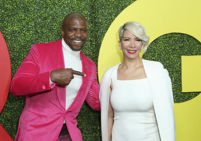 Terry Crews, left, and Rebecca Crews arrive at the 2018 GQ's Men of the Year Celebration on Thursday, Dec. 6, 2018, in Beverly Hills, Calif. (Photo by Willy Sanjuan/Invision/AP)