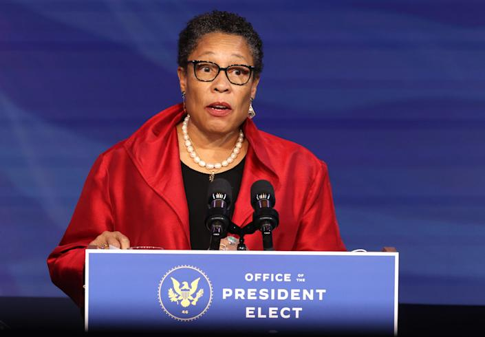 U.S. Rep. Marcia Fudge (D-OH) delivers remarks after being introduced as then-President-elect Joe Biden's nominee to head the Department of Housing and Urban Affairs at the Queen Theater on December 11, 2020, in Wilmington, Delaware.