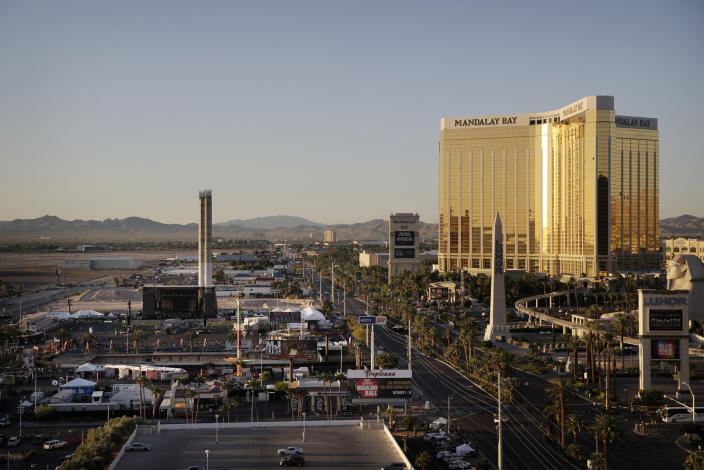 The Mandalay Bay Resort and Casino, right, overlooking an outdoor festival grounds across the street, left, on Oct. 3, 2017, in Las Vegas. (Photo: John Locher/AP)