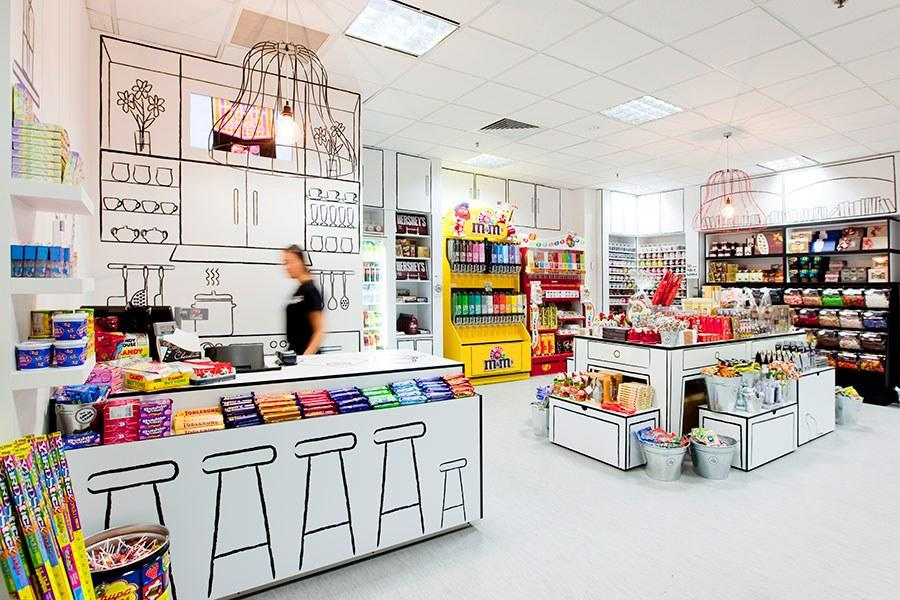 <em>1/155 Queen Street, Melbourne</em><br> <em>+61-39-670-7665</em><br> Local firm Red Design Group used line drawings to create the playful two-dimensional surroundings of the Candy Room. The black-and-white interiors look like a child's artwork come to life, with bursts of color supplied by the shop's wide selection of candy.