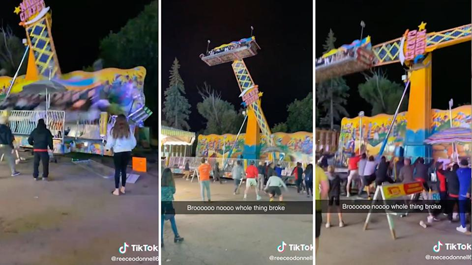 The base of a ride at a fair in Michigan started to violently shake while people were up in the air. Source: TikTok/reeceodonnell6