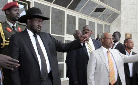 South Sudan's President Kiir gestures as he leaves after attending peace talks with the South Sudanese rebels in Ethiopia's capital Addis Ababa