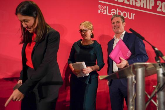 Nandy, Rebecca Long-Bailey and Keir Starmer during the Labour leadership contest (Getty)