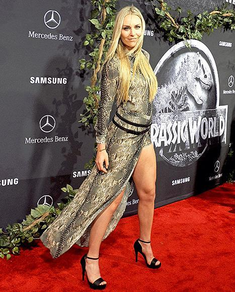 "Lindsey Vonn arrives at the World Premiere of ""Jurassic World"" at Dolby Theatre on June 9, 2015 in Hollywood, California."