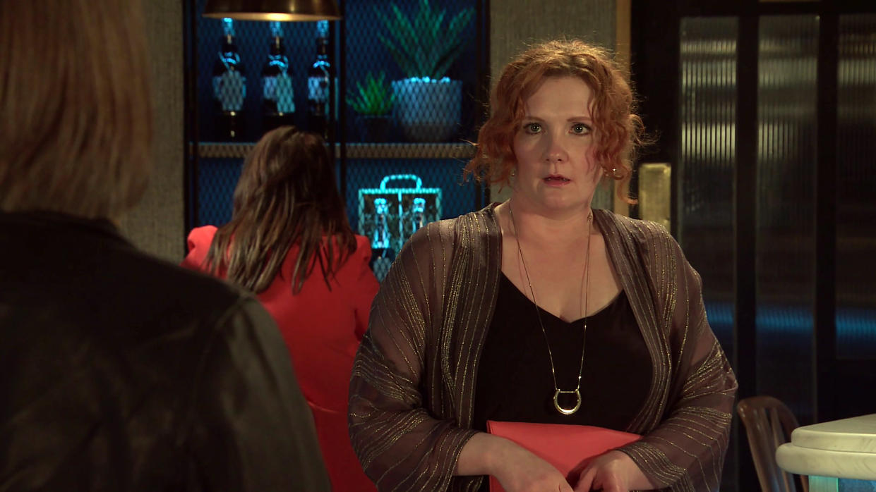 FROM ITV  STRICT EMBARGO - No Use Before Tuesday 6th July 2021  Coronation Street - Ep 10375  Monday 12th July 2021 - 2nd Ep  Fiz Stape [JENNIE McALPINE] meets up with her date in the bistro only to discover that Chris [LOIS MACKIE] is a reporter hoping to run a story on aggrieved women whoÕve been dumped for a younger model.  Fiz is furious but when Chris points out how good itÕll feel to tell the world the truth, sheÕs torn.  Picture contact David.crook@itv.com   This photograph is (C) ITV Plc and can only be reproduced for editorial purposes directly in connection with the programme or event mentioned above, or ITV plc. Once made available by ITV plc Picture Desk, this photograph can be reproduced once only up until the transmission [TX] date and no reproduction fee will be charged. Any subsequent usage may incur a fee. This photograph must not be manipulated [excluding basic cropping] in a manner which alters the visual appearance of the person photographed deemed detrimental or inappropriate by ITV plc Picture Desk. This photograph must not be syndicated to any other company, publication or website, or permanently archived, without the express written permission of ITV Picture Desk. Full Terms and conditions are available on  www.itv.com/presscentre/itvpictures/terms