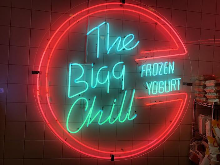 A neon sign for the Bigg Chill.
