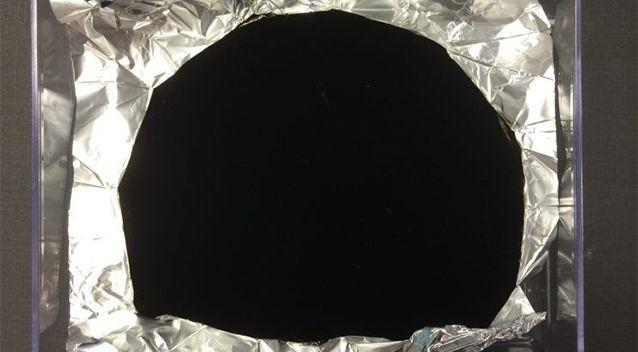 A sample of Vantablack, the darkest material ever invented. Photo: Surrey NanoSystems