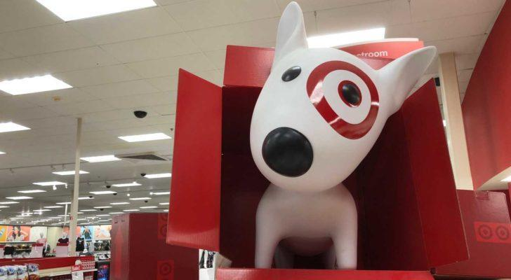 an image of bullseye the target (TGT) dog in a target store