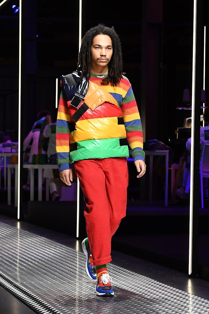 """Being accused of """"failure to influence"""" clearly hasn't slowed Luka Sabbat down. After walking LaQuan Smith in New York, he journeyed on to Milan to walk Benetton's fall/winter 2019 show in February 2019."""