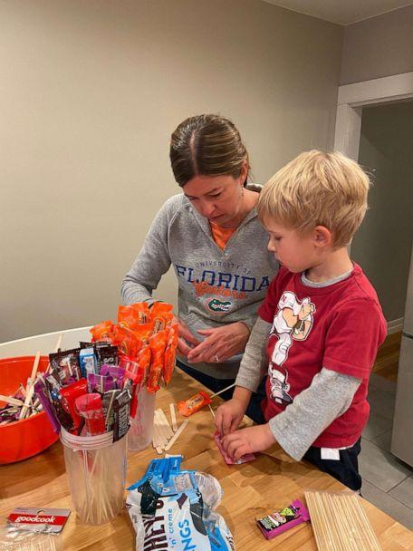 PHOTO: Clark Winter, 4, prepares for Halloween 2020 with his mom Wendy Winter inside their Denver, Colorado, home. (Wendy Winter)