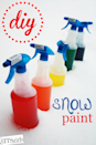"""<p>Even those who live in cold climates don't have to sequester inside all day. These super-vibrant """"snow paints"""" only require food dye and water, so you probably have the goods on hand. Try a friendly family art competition or a chilly game of Pictionary outside. Then, set up a hot cocoa bar inside to thaw out. </p><p><em><a href=""""http://www.thesitsgirls.com/diy/diy-snow-paint/"""" rel=""""nofollow noopener"""" target=""""_blank"""" data-ylk=""""slk:Get the tutorial at The SITS Girls »"""" class=""""link rapid-noclick-resp"""">Get the tutorial at The SITS Girls »</a></em><br></p>"""