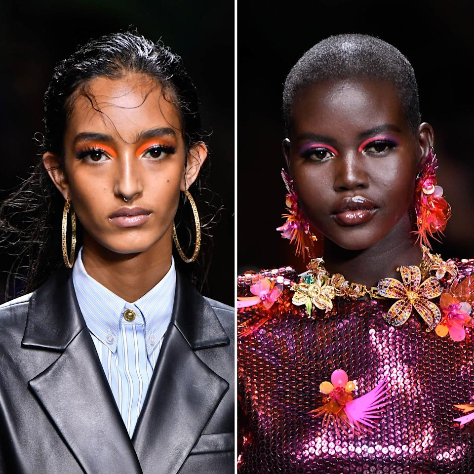 """Instead of covering their lids with different shades of neon, makeup artist Pat McGrath kept the shock of color to the inner half of models' creases at Versace. A glittery champagne shadow was swept on the other half to reflect the radiance of their skin, which was illuminated and evened out with <a href=""""https://shop-links.co/1684977280219356671"""" rel=""""nofollow"""">Pat McGrath Labs Sublime Perfection: The System</a>."""