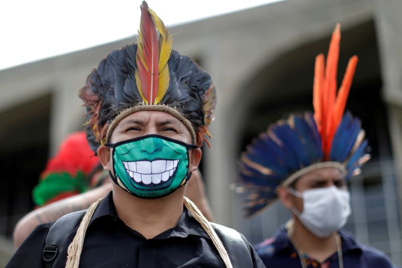 FILE PHOTO: Indigenous people call for the demarcation of their lands and the resignation of the Minister of Environment, Ricardo Salles
