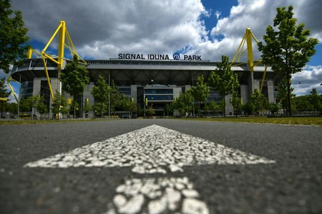 Signal Iduna Park played host to Borussia Dortmund against Schalke last weekend as the German Bundesliga became the first major European league to restart after the coronavirus shutdown (AFP Photo/Ina FASSBENDER)