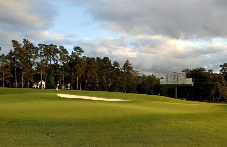 The area around the 18th green, usually filled with spectators, was empty during last year's first round of the Masters, with spectators banned due to Covid-19 safety measures