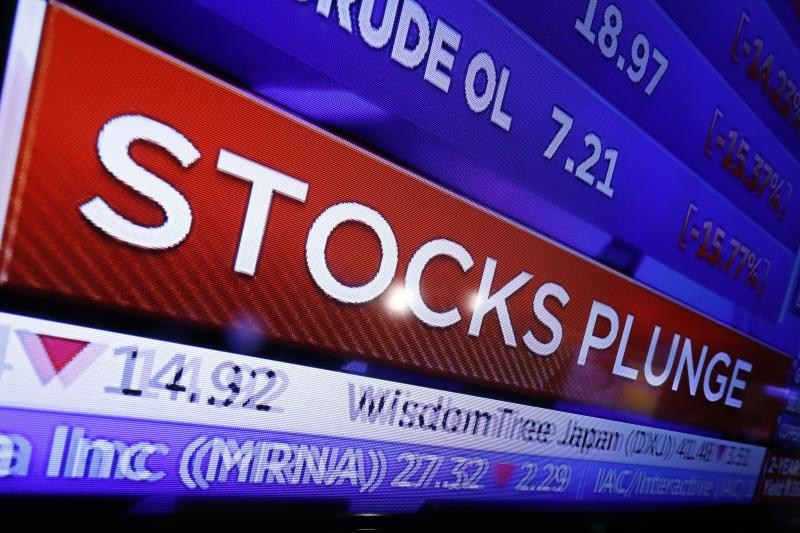 FILE - In this Monday, March 9, 2020, file photo, a television screen on the floor of the New York Stock Exchange headlines market activity. (AP Photo/Richard Drew, File)