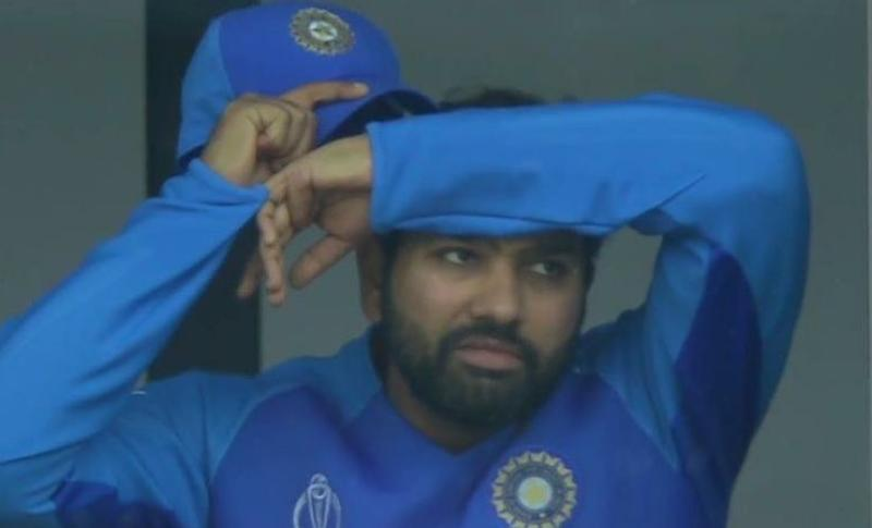 Rohit Sharma on the verge of breaking down during the first semi-final. Picture courtesy: Screengrab