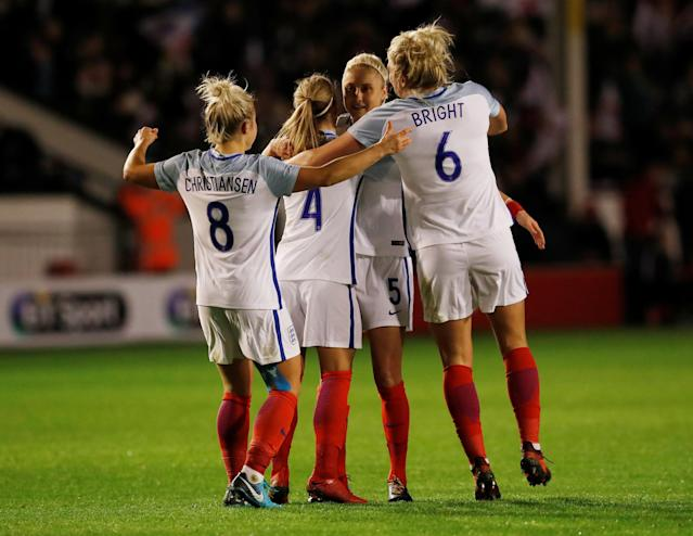 Soccer Football - Women's World Cup Qualifier - England vs Bosnia & Herzegovina - The Banks's Stadium, Walsall, Britain - November 24, 2017 England's Steph Houghton celebrates scoring their third with team mates Action Images via Reuters/Andrew Boyers