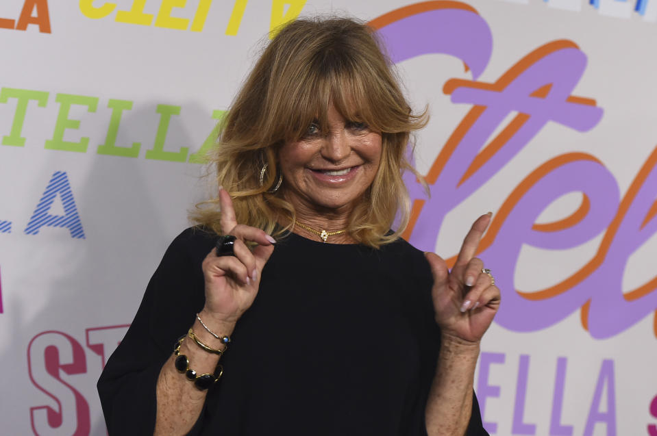 Goldie Hawn arrives at the Stella McCartney Autumn 2018 Presentation on Tuesday, Jan. 16, 2018 in Los Angeles. (Photo by Jordan Strauss/Invision/AP)