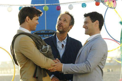 """<p>NBC's <em>The New Normal</em>, created by Ryan Murphy and Ali Adler, was the first sitcom on a broadcast network to be completely based on the storyline of a same-sex couple. The plot follows David and Bryan, played by Justin Bartha and Andrew Rannells, as they invite their surrogate to move in with them—along with her 9 year-old daughter. In the series finale, """"The Big Day,"""" the two wed after the birth of their child.</p>"""
