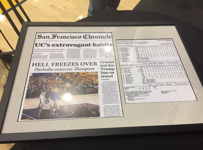 Zaza Pachulia trolls Klay Thompson with fake SF Chronicle