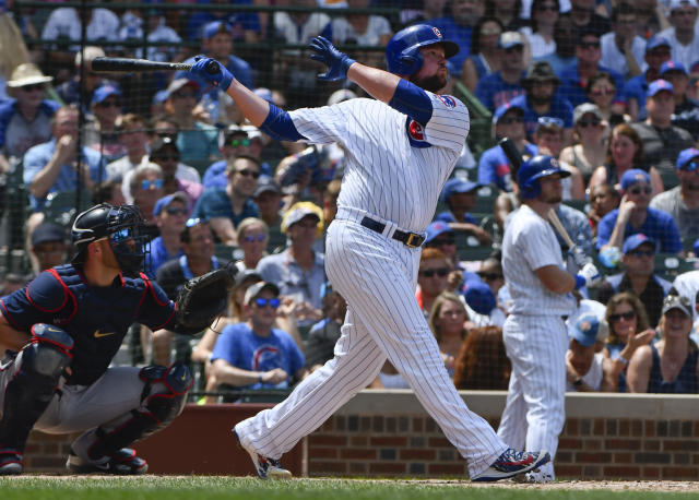 Chicago Cubs' Jon Lester hits a three-run home run during an eight-run second inning against the Minnesota Twins. (AP Photo)