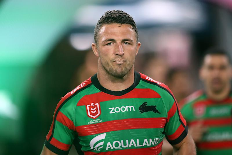 SYDNEY, AUSTRALIA - SEPTEMBER 20: Sam Burgess of the Rabbitohs walks onto the field during the NRL Semi Final match between the South Sydney Rabbitohs and the Manly Sea Eagles at ANZ Stadium on September 20, 2019 in Sydney, Australia. (Photo by Mark Metcalfe/Getty Images)