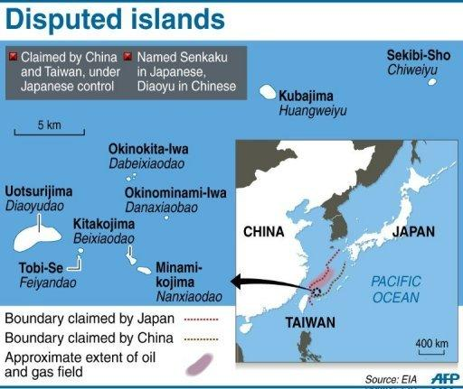 <p>Graphic showing disputed islands claimed by China and controlled by Japan</p>